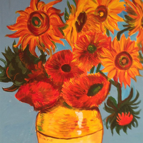 VAN GOGH INSPIRED SUNFLOWERS ARTWORK – WED. JAN 8 – This is an afternoon half day session. CREATIVE KIDS VOUCHER ACCEPTED